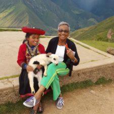Peru with Inca girl and her Llama